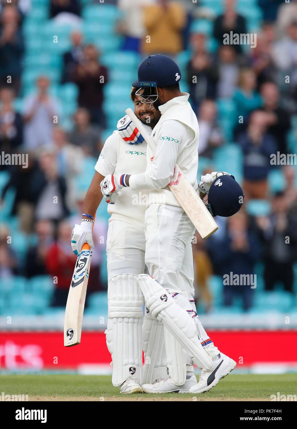Kia Oval, London, UK. 11th Sep, 2018. Specsavers International Test Match Cricket, 5th test, day 5; KL Rahul of India congratulates batting partner Rishabh Pant on reaching his century Credit: Action Plus Sports/Alamy Live News - Stock Image