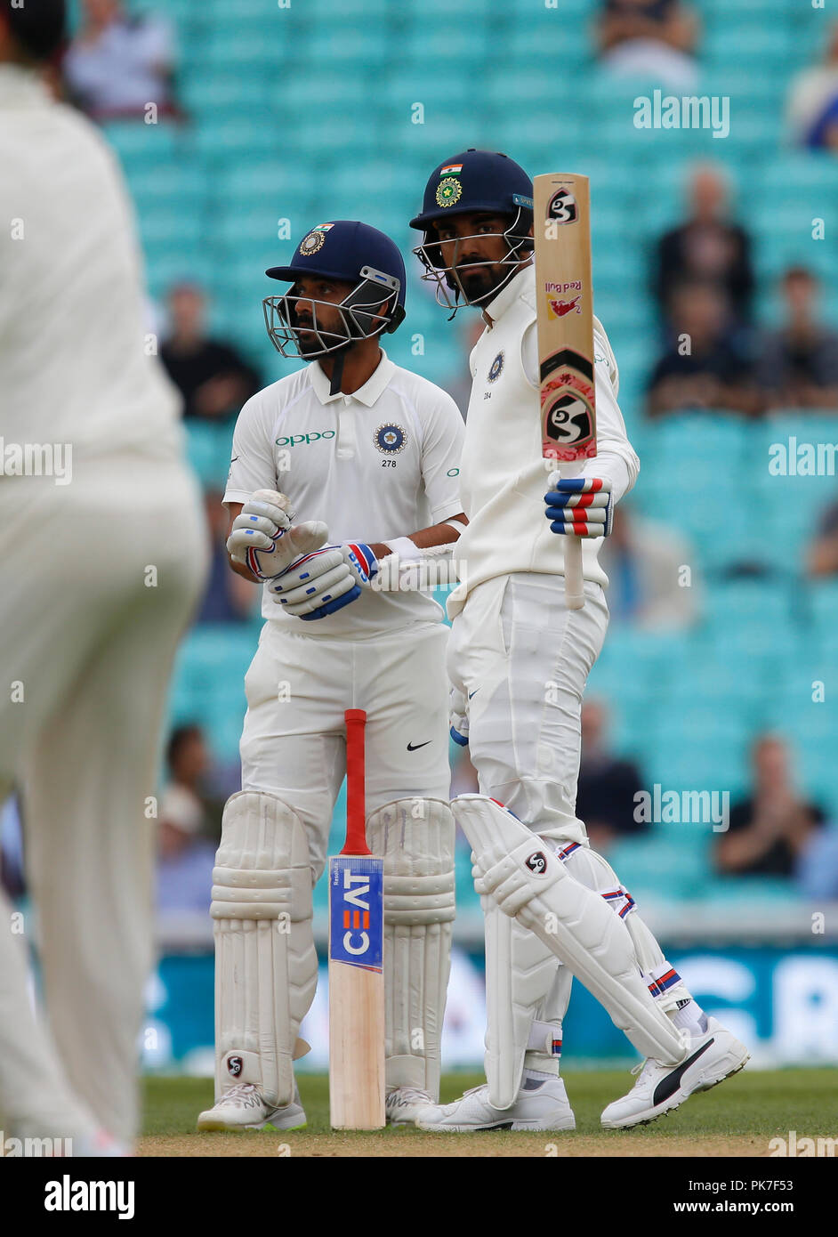 Kia Oval, London, UK. 11th Sep, 2018. Specsavers International Test Match Cricket, 5th test, day 5; KL Rahul of India acknowledges the Oval crowd's applause as he reaches his half century Credit: Action Plus Sports/Alamy Live News - Stock Image