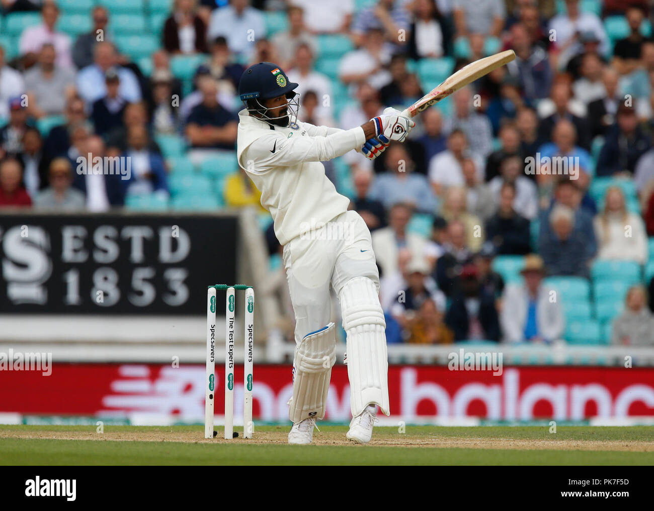 Kia Oval, London, UK. 11th Sep, 2018. Specsavers International Test Match Cricket, 5th test, day 5; KL Rahul of India pulls the ball away to the on side Credit: Action Plus Sports/Alamy Live News - Stock Image