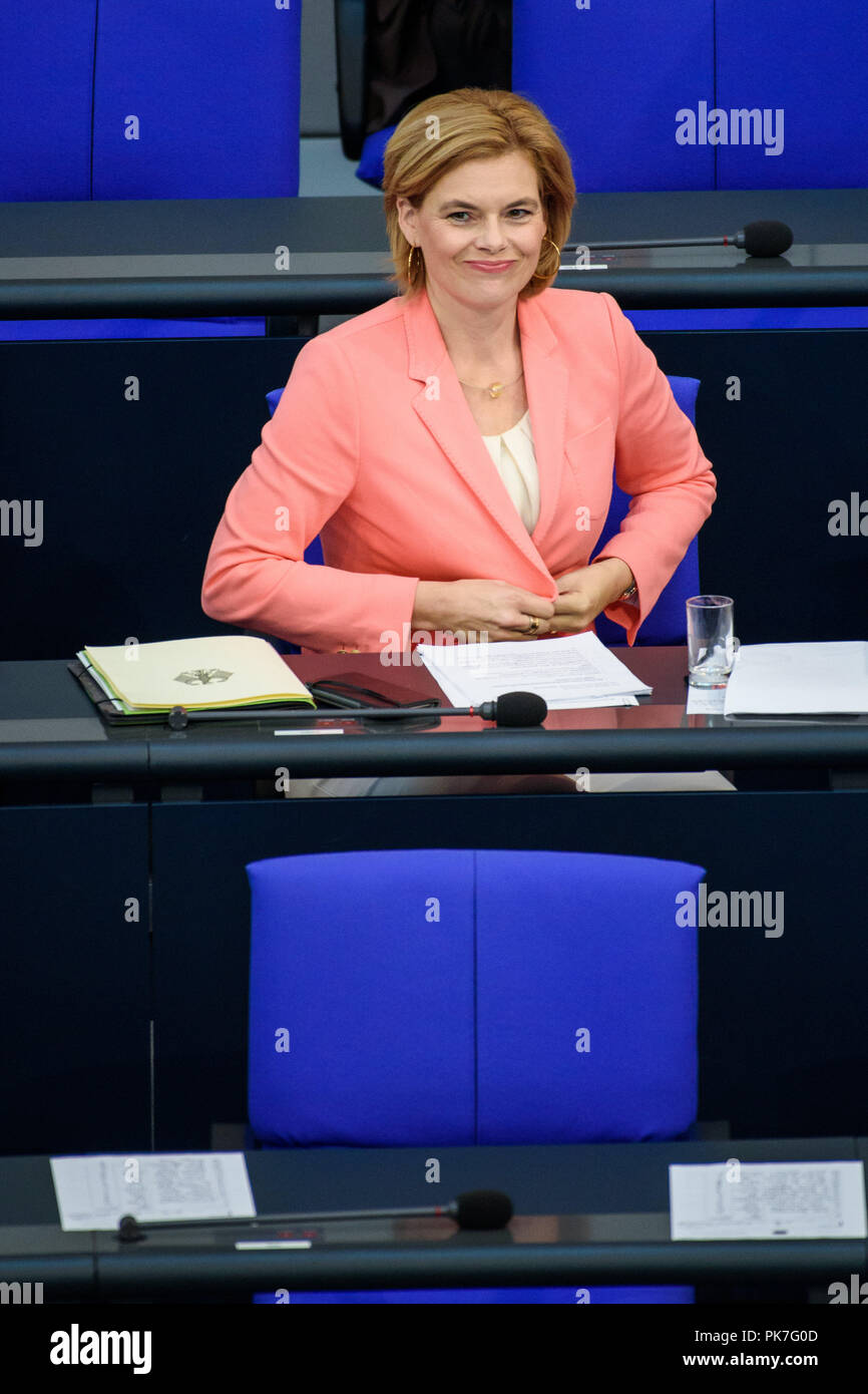 11 September 2018, Berlin: Julia Klöckner (CDU), Federal Minister of Food and Agriculture, comes to the plenary session in the German Bundestag. The main topic of the 47th session of the 19th legislative period is the Federal Government's draft budget 2019 and the federal budget 2018 to 2022. Photo: Gregor Fischer/dpa - Stock Image