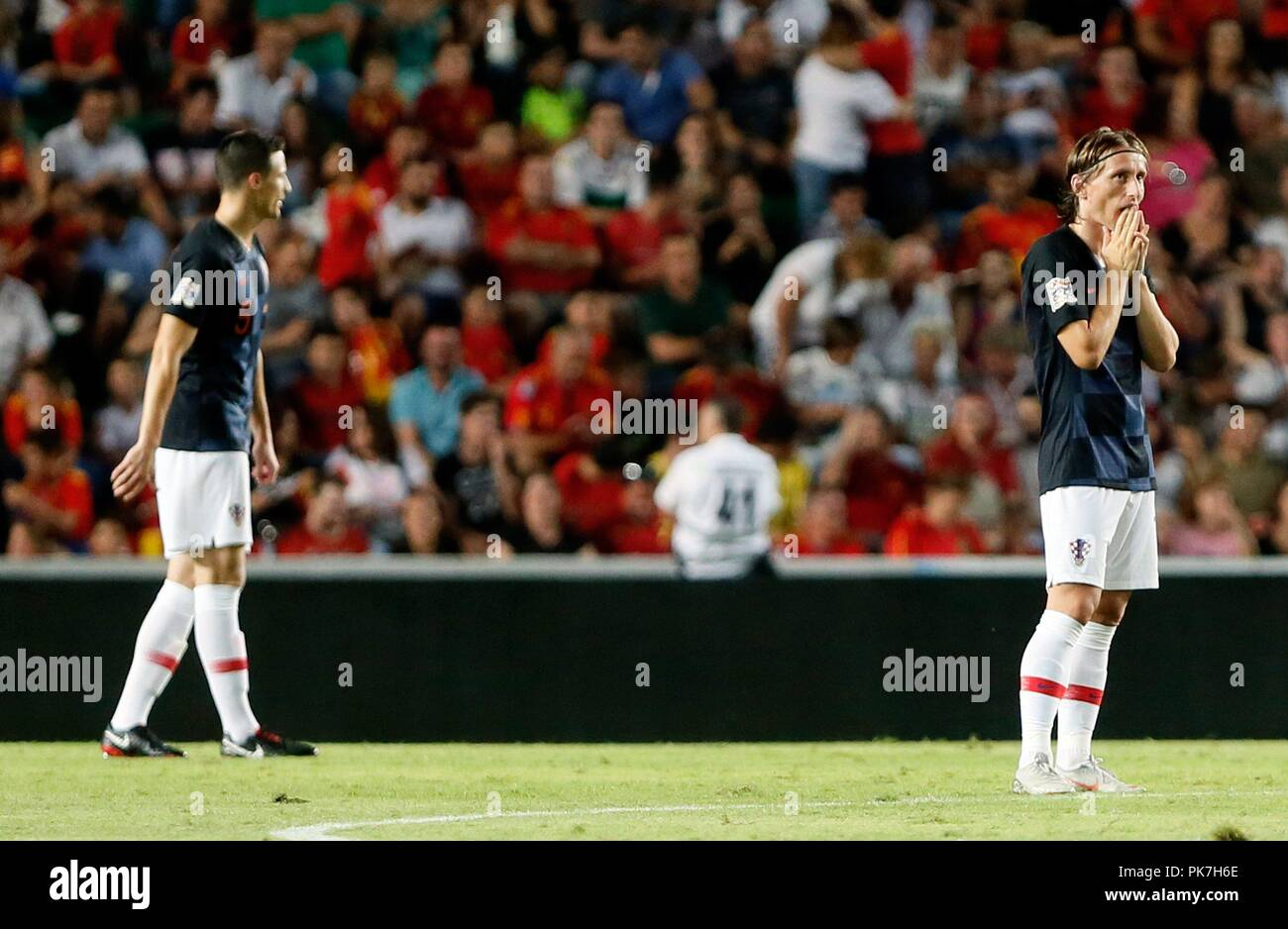 Croatian Luka Modric (R) reacts during the League of Nations match between  the national 48636cbd3