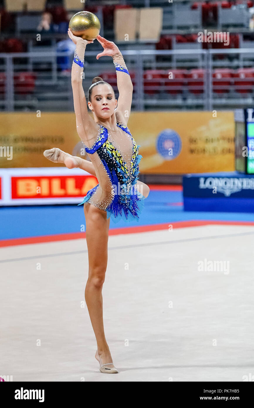 September 11, 2018: Nicol Zelikman of Israel during Individual Ball Final at the Arena Armeec in Sofia at the 36th FIG Rhythmic Gymnastics World Championships. Ulrik Pedersen/CSM - Stock Image