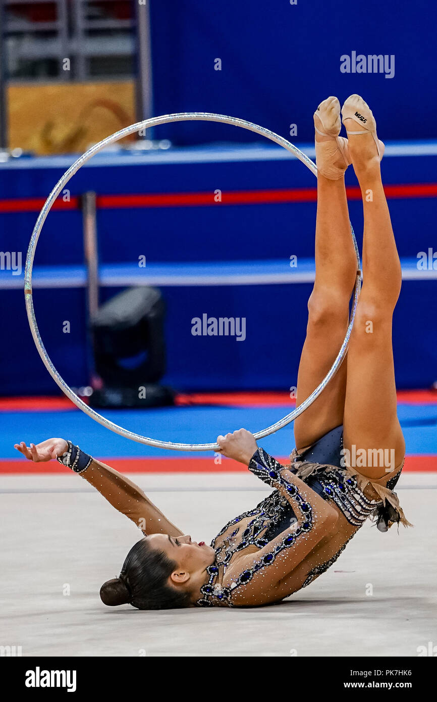 September 11, 2018: Nicol Zelikman of Israel during Individual Hoop Final at the Arena Armeec in Sofia at the 36th FIG Rhythmic Gymnastics World Championships. Ulrik Pedersen/CSM - Stock Image