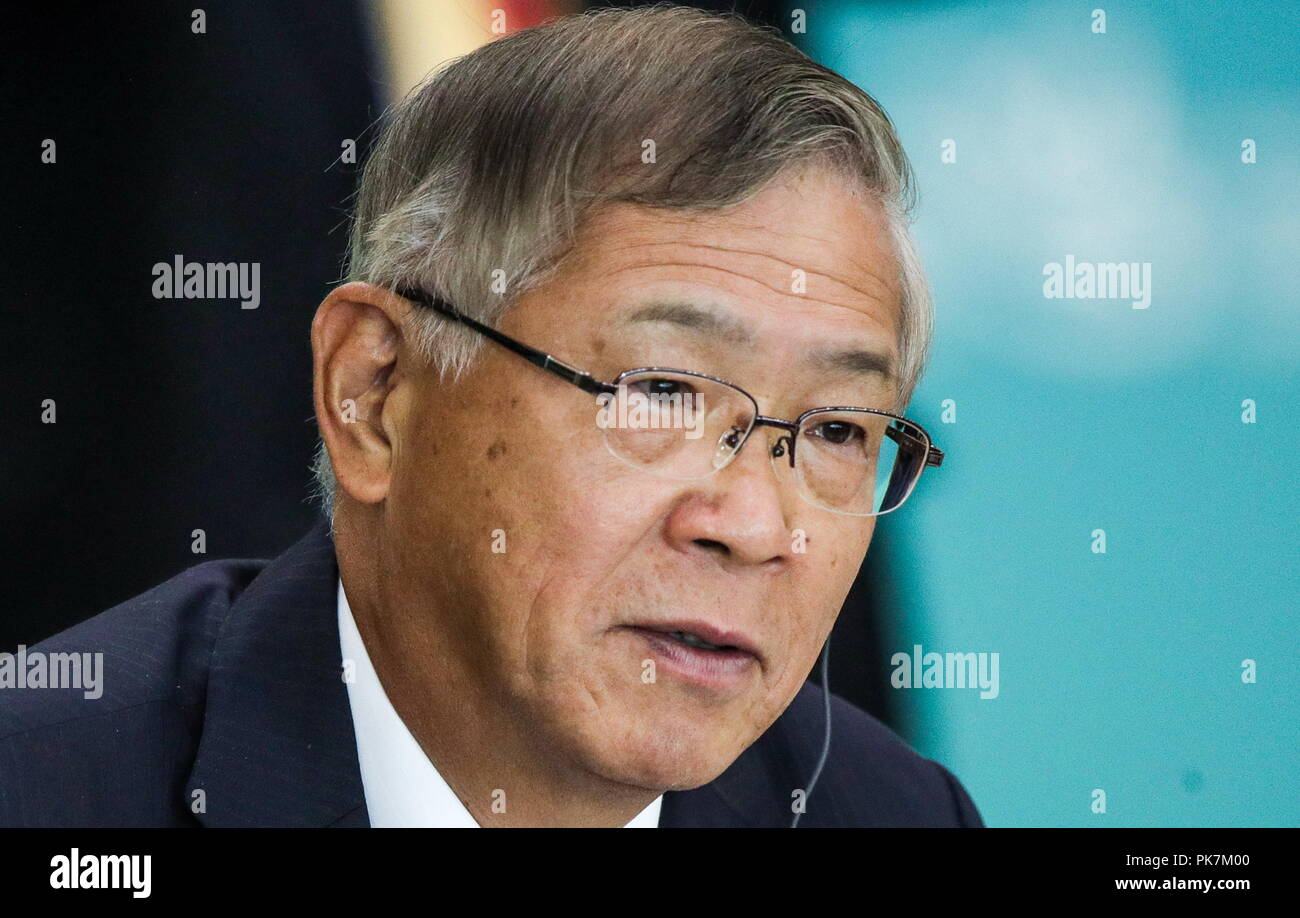 Vladivostok, Russia. 12th Sep, 2018. VLADIVOSTOK, RUSSIA - SEPTEMBER 12, 2018: Shigeru Murayama, President of the Japan Association for Trade with Russia & New Independent States (ROTOBO), Chairman of the Board at Kawasaki Heavy Industries, at the Russia - Japan session as part of the 2018 Eastern Economic Forum at the Far Eastern Federal University (FEFU) on Russky Island. Sergei Bobylev/TASS Host Photo Agency Credit: ITAR-TASS News Agency/Alamy Live News Stock Photo