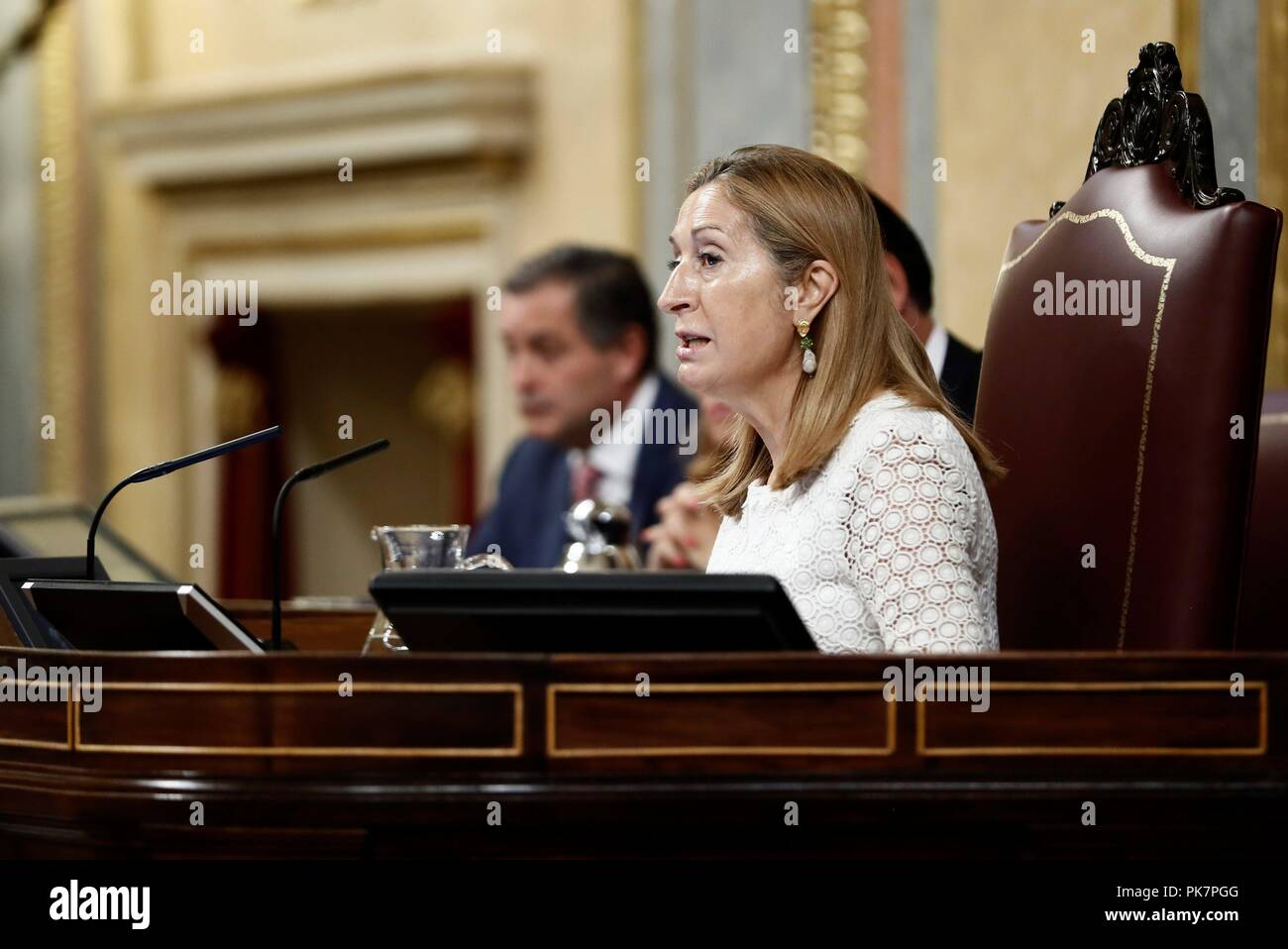 Madrid, Spain. 12th Sep, 2018. Speaker of the Spanish Lower House, Ana Pastor, attends question time at Parliament in Madrid, Spain, 12 September 2018. Credit: Mariscal/EFE/Alamy Live News - Stock Image