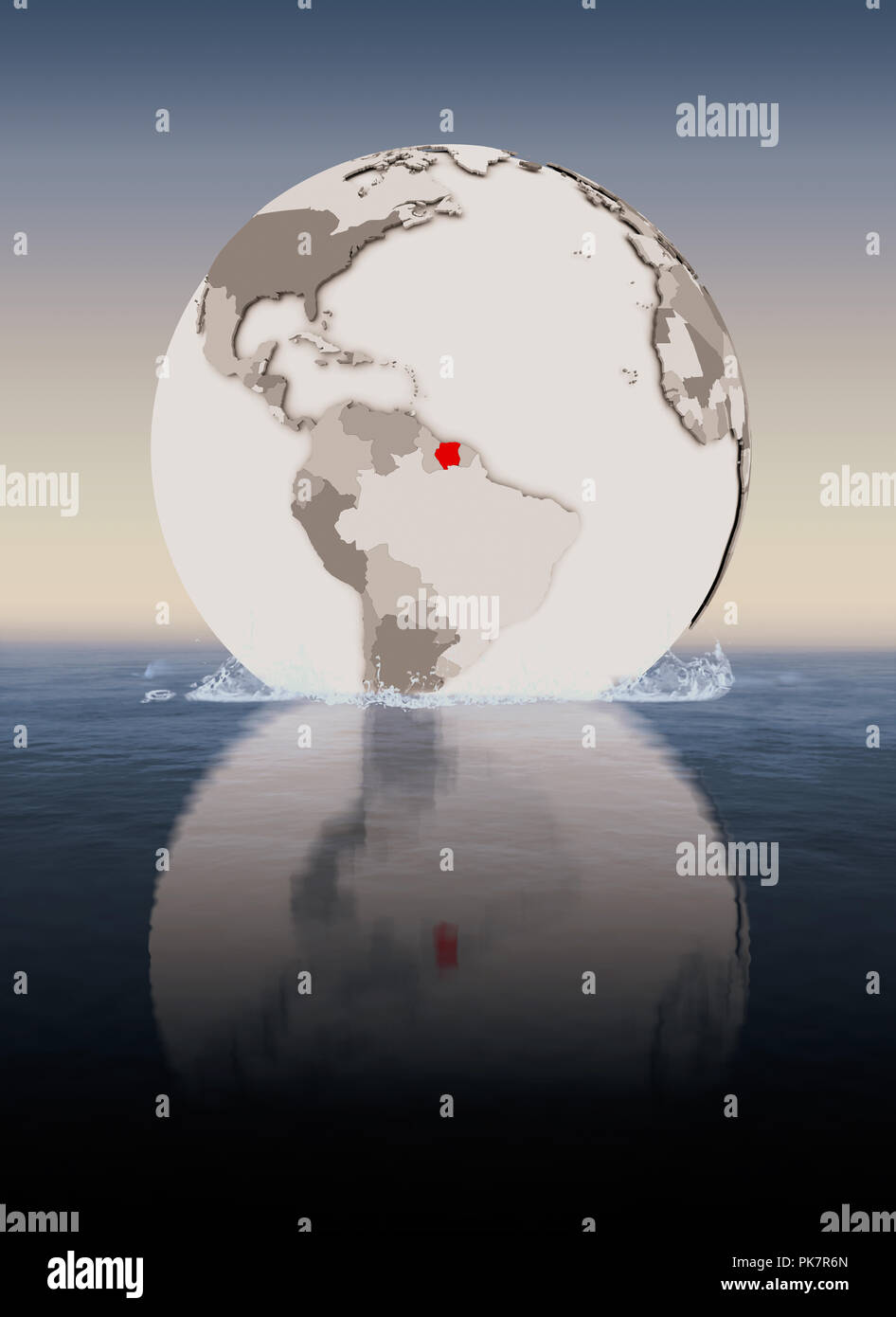 Suriname In red on globe floating in water. 3D illustration. - Stock Image