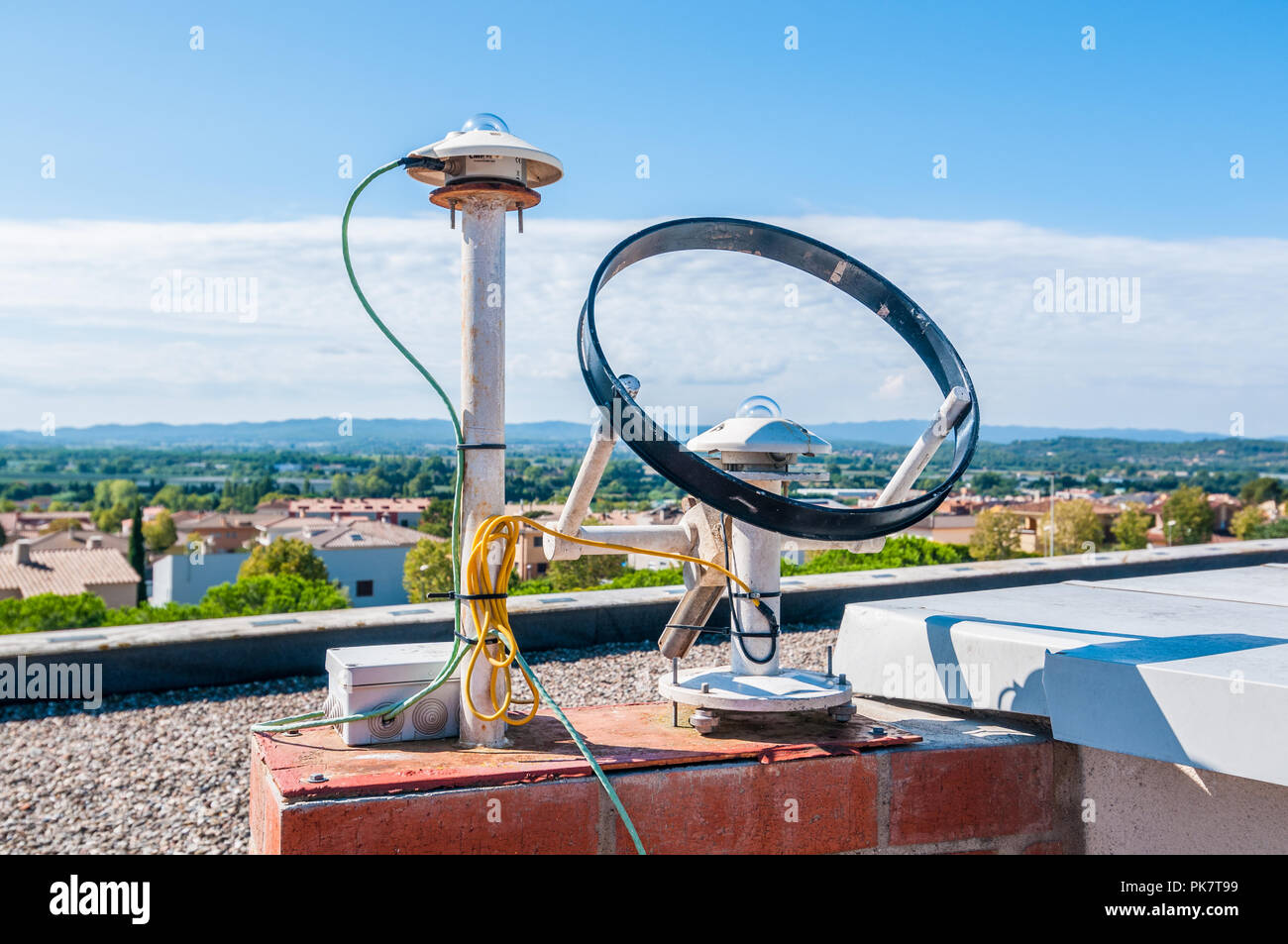 modern Sunshine recorder and  Pyranometer, type of actinometer used for measuring solar irradiance, on a roof Stock Photo