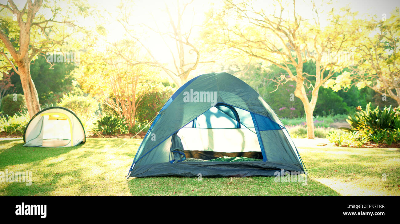 Tents at campsite on a sunny day - Stock Image