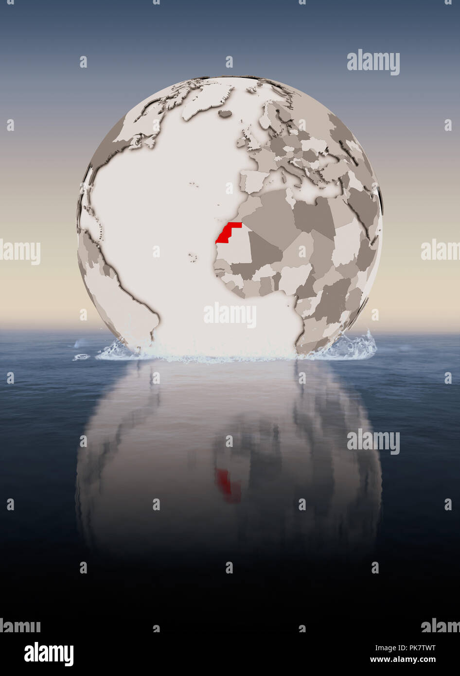 Western Sahara In red on globe floating in water. 3D illustration. - Stock Image