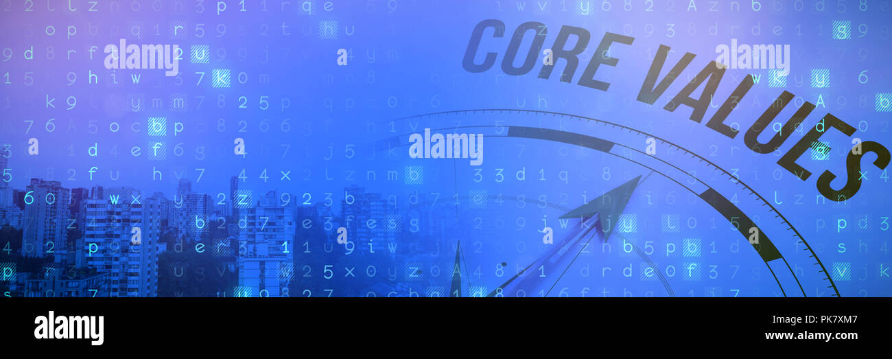 Composite image of core values against compass - Stock Image