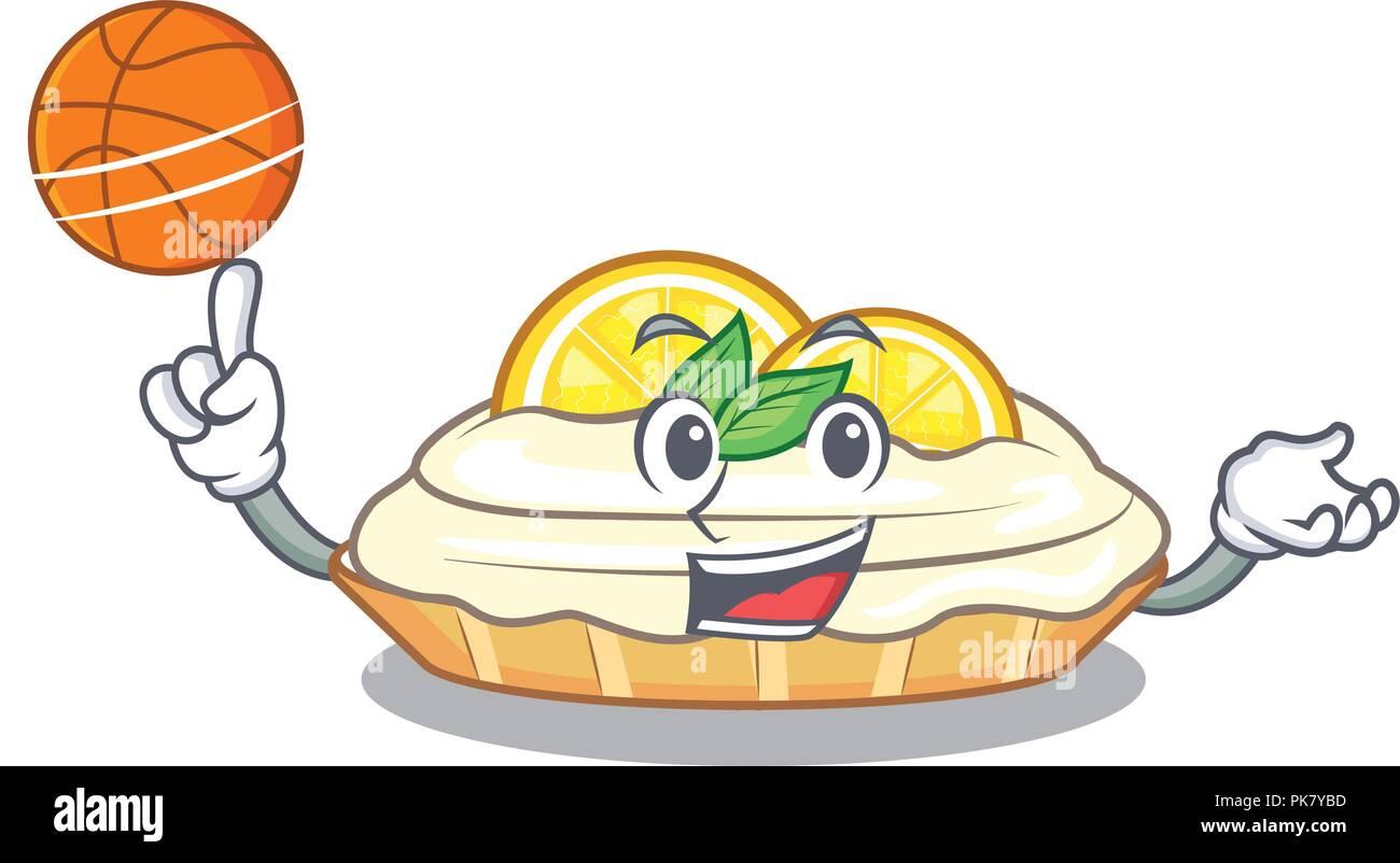 With Basketball Cartoon Lemon Cake With Sugar Powder Stock Vector