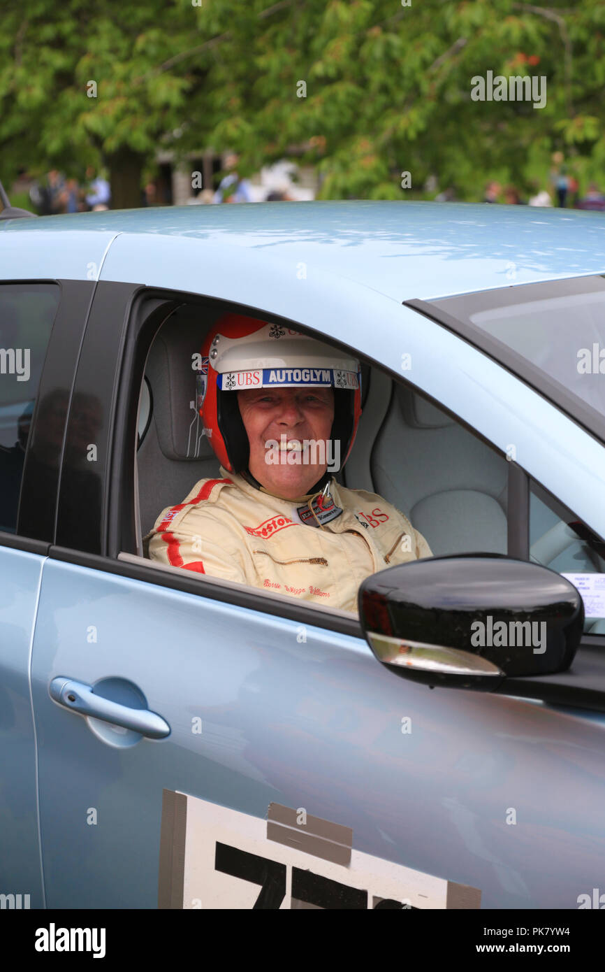 "Barrie ""Whizzo"" Williams at the wheel of an electric Renault Zoe at Prescott hill climb, Gloucestershire, UK. Stock Photo"
