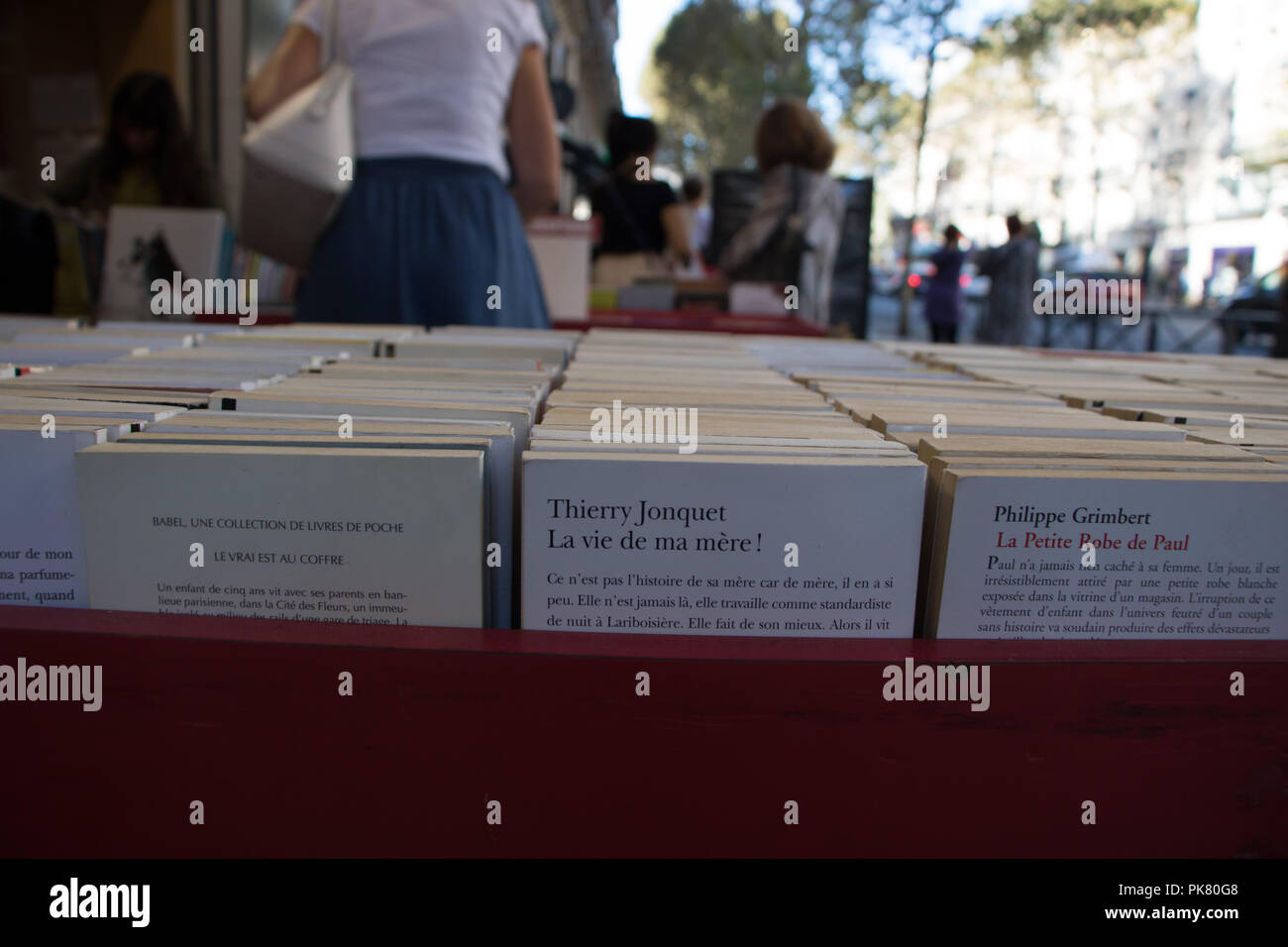 Paris, France - September 11, 2018: Rows of used French language