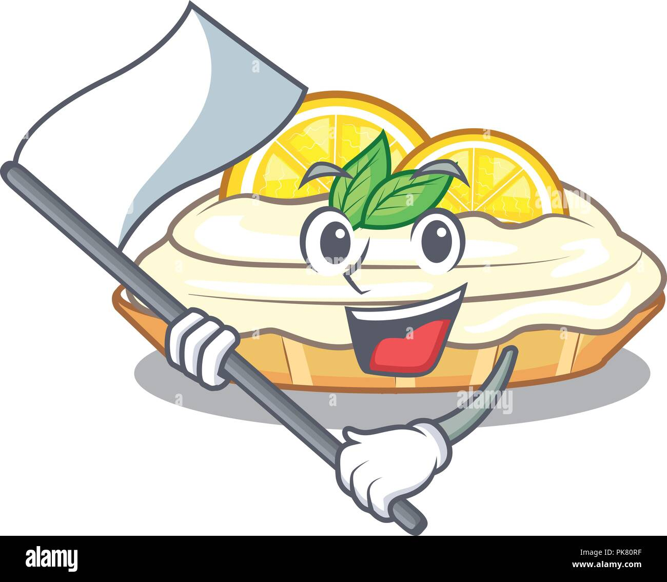 With Flag Mascot Delicious Homemade Lemon Cake With Sugar Stock