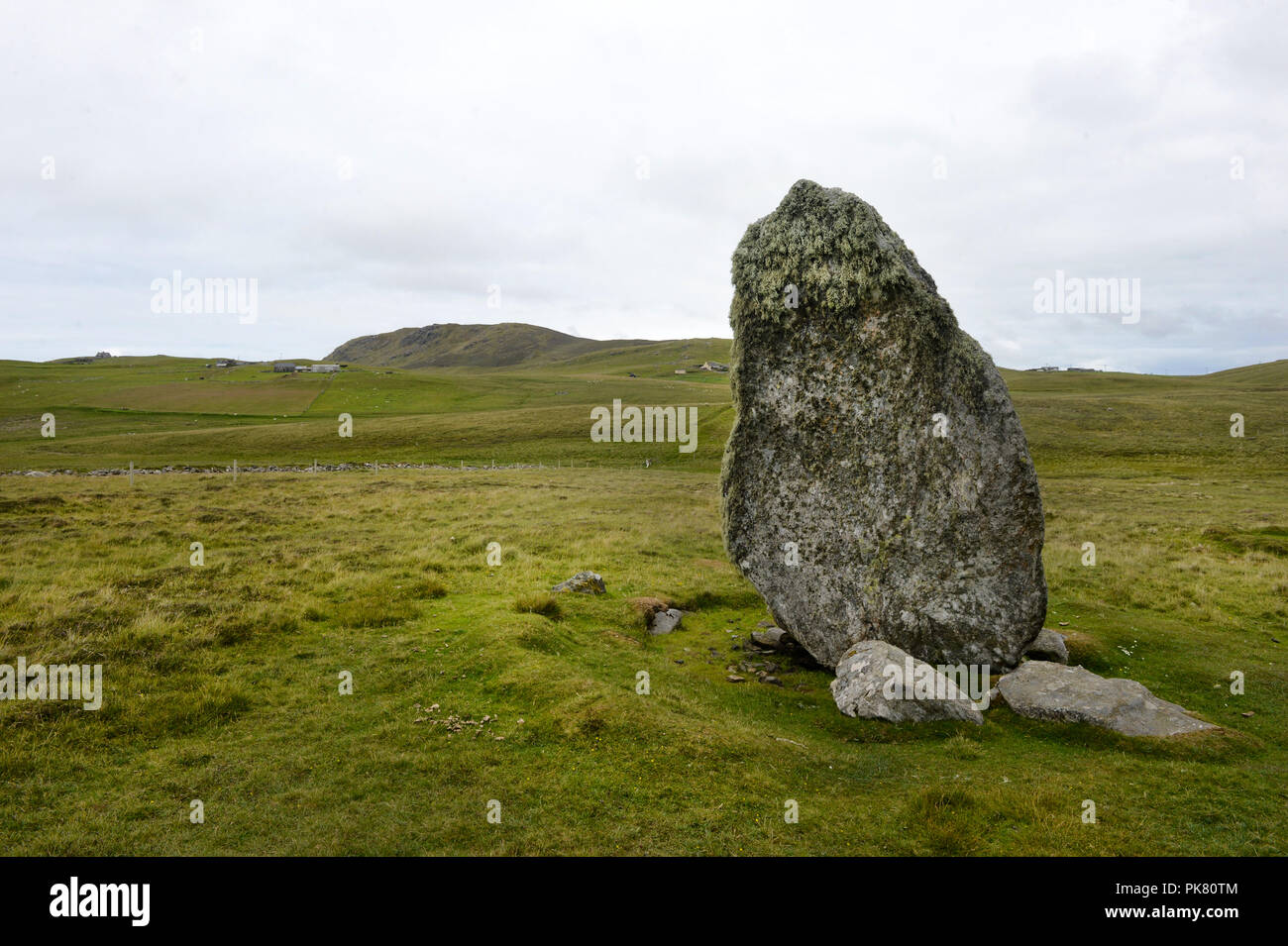 Standing Stones on the Island of Unst in the Shetland Islands - Stock Image