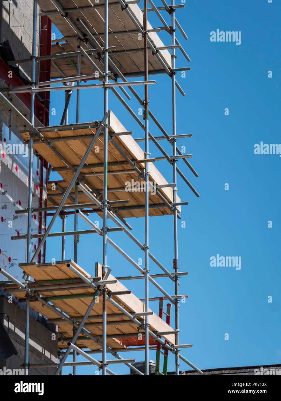 scaffolding on a new building - Stock Image