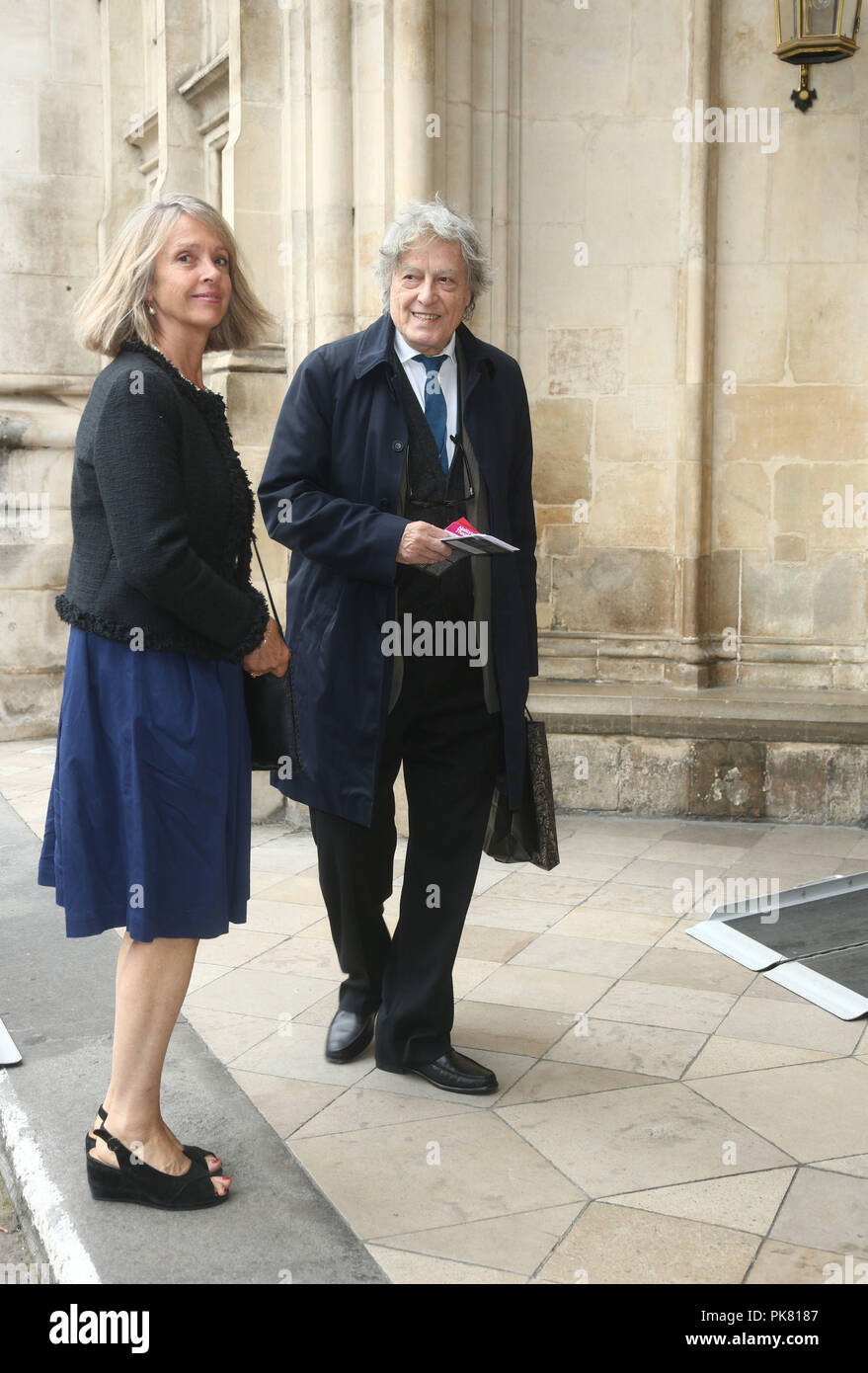 Sir Tom Stoppard attending a service of thanksgiving to celebrate the life and work of Sir Peter Hall, the former director of the National Theatre, at Westminster Abbey in London. - Stock Image