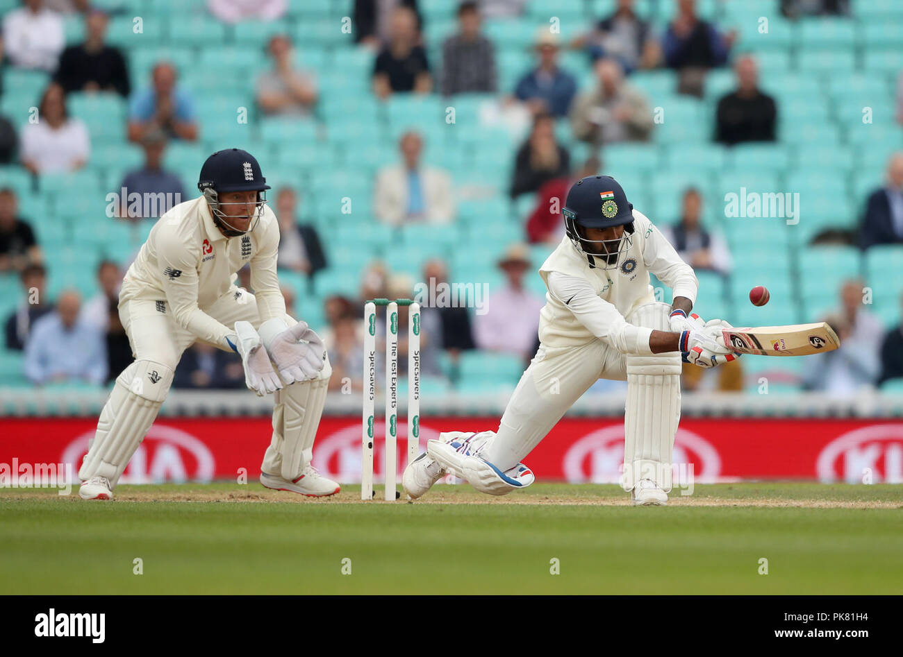 India's KL Rahul during the test match at The Kia Oval, London. Stock Photo