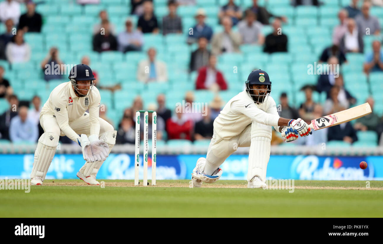 India's KL Rahul (right) during the test match at The Kia Oval, London. - Stock Image