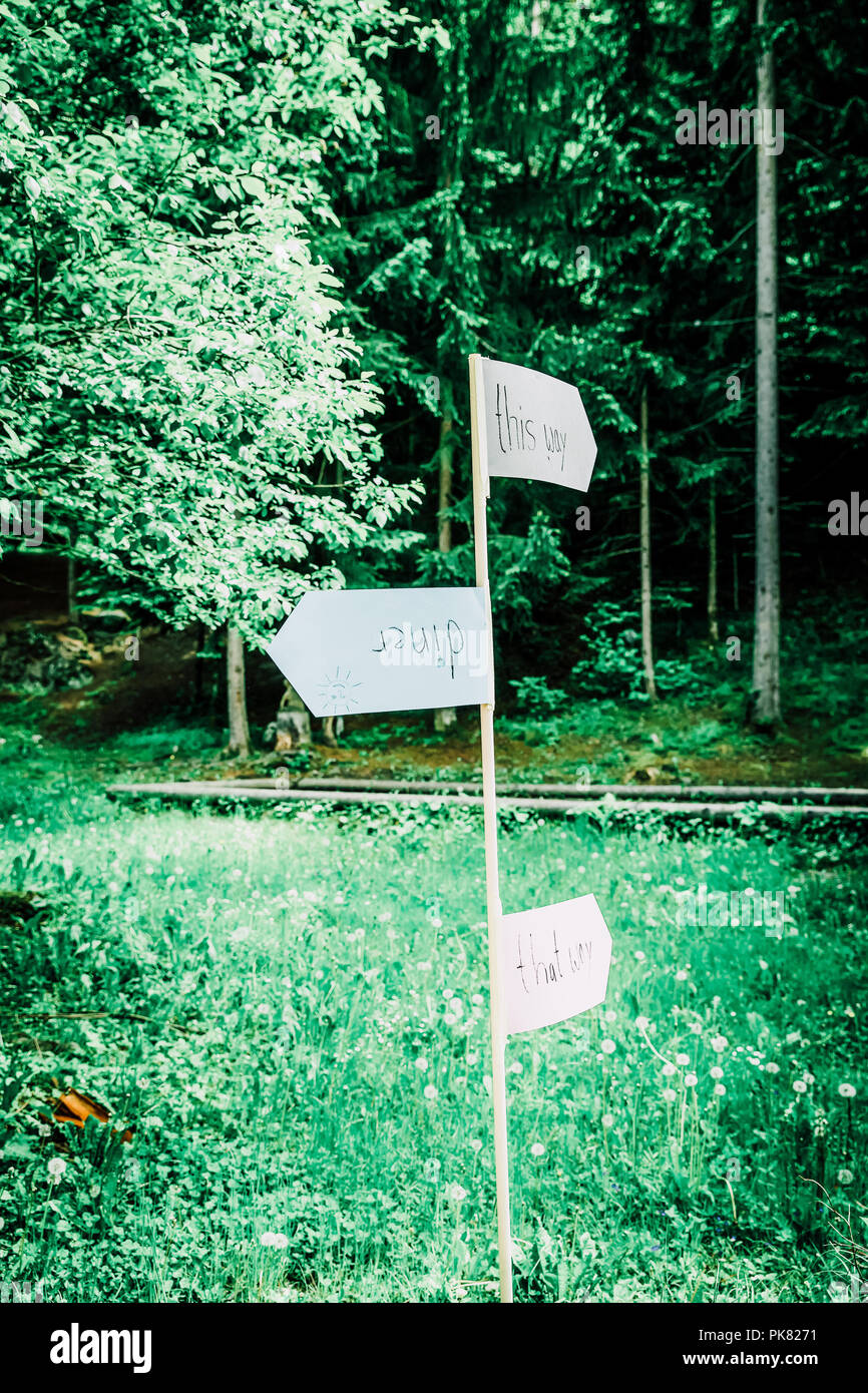Outdoors Indie Wedding Hand Written Direction Signs - Stock Image