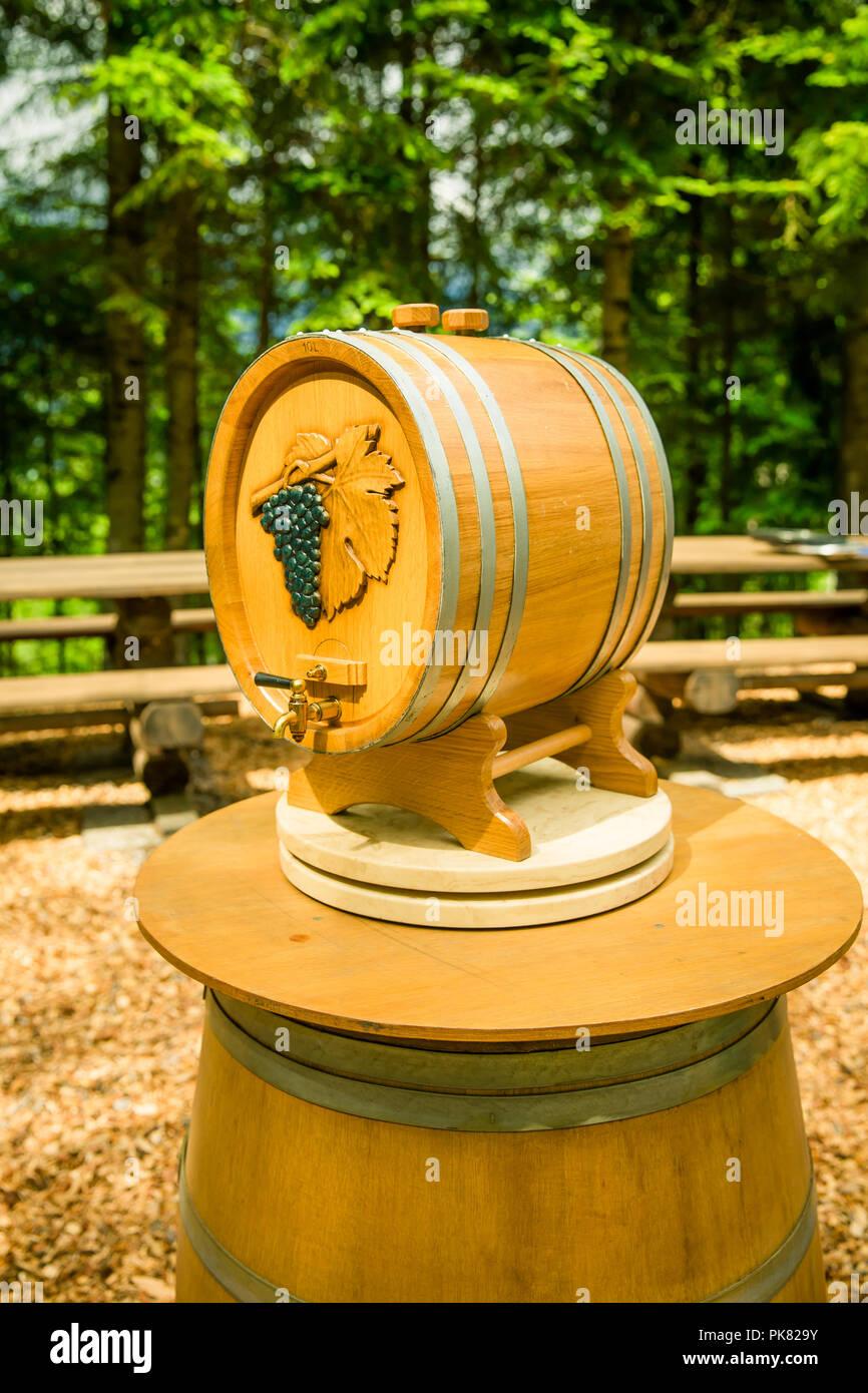 Outdoors Indie Wedding Wine Barrel on Wooden Barrel Stock Photo