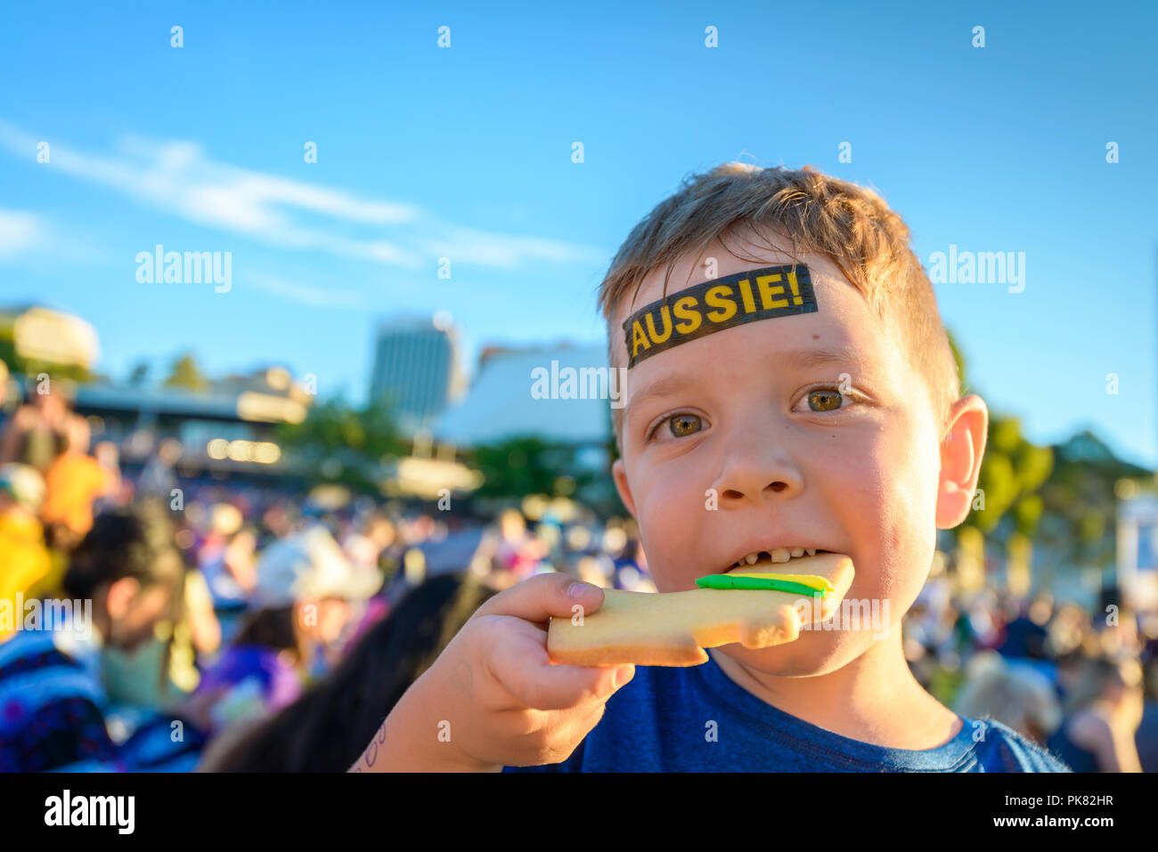 Cute Australian boy with Aussie tattoo on his face on Australia Day celebration in Adelaide - Stock Image