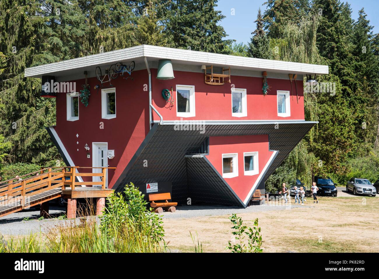 House upside down, Das Tolle Haus, Affoldern, Edersee, Hesse, Europe - Stock Image