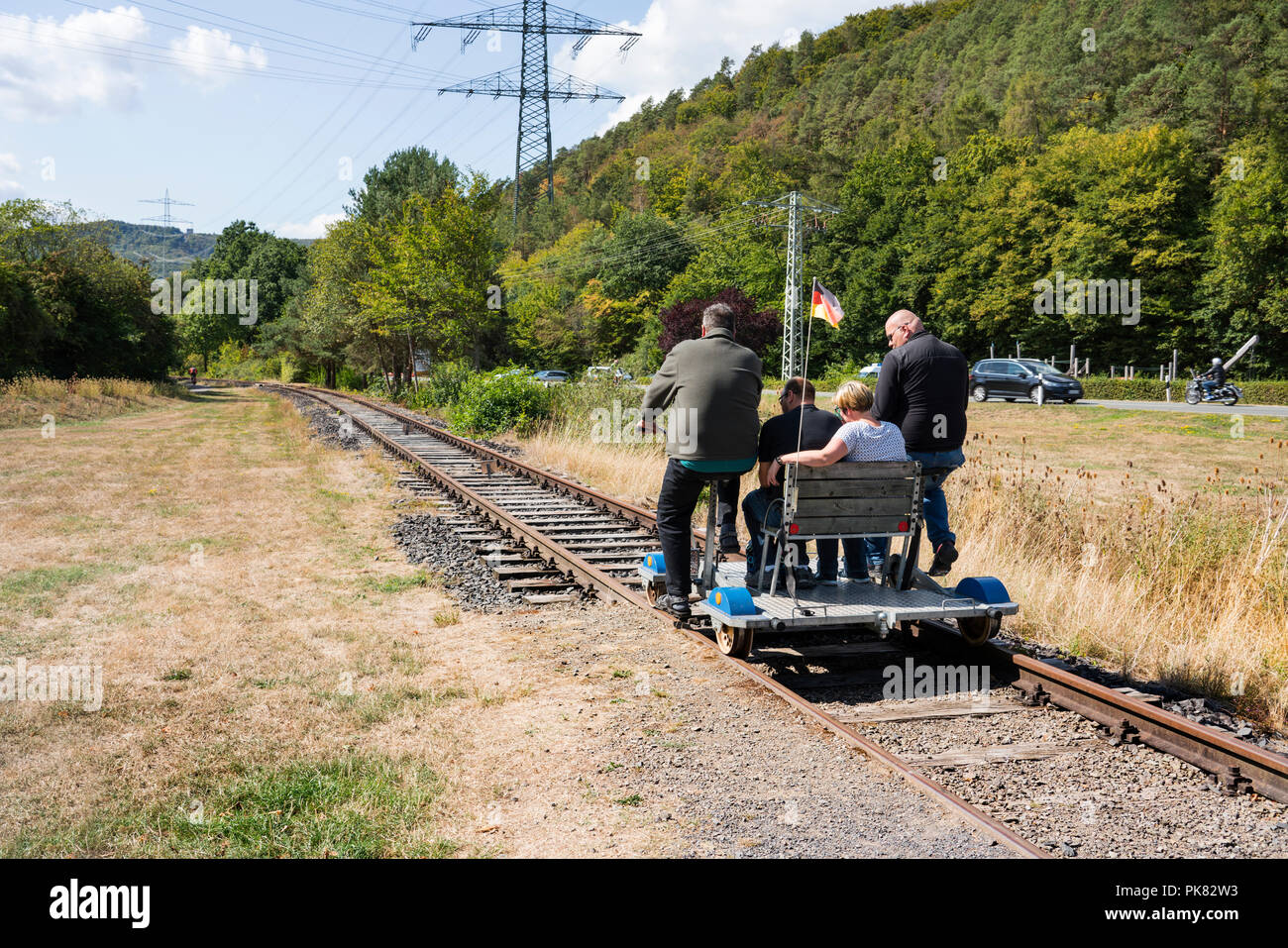 A draisine for tourists, Affoldern, Lake Edersee, Hesse, Germany, Europe - Stock Image