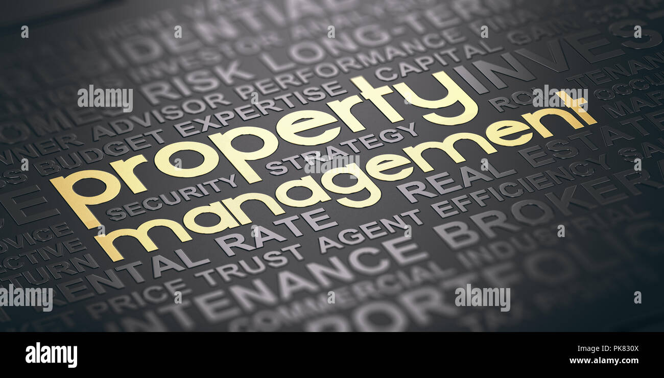 Word cloud over black background with the text property management witten in golden letters. Real estate concept. 3D illustration Stock Photo
