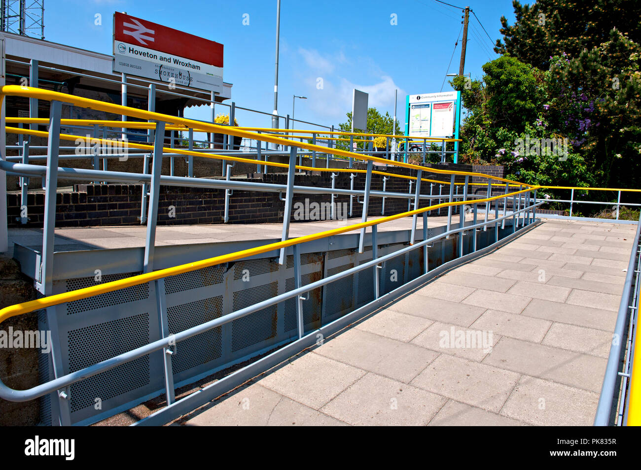 Wheelchair access ramp at Hoveton & Wroxham railway station Norfolk UK - Stock Image