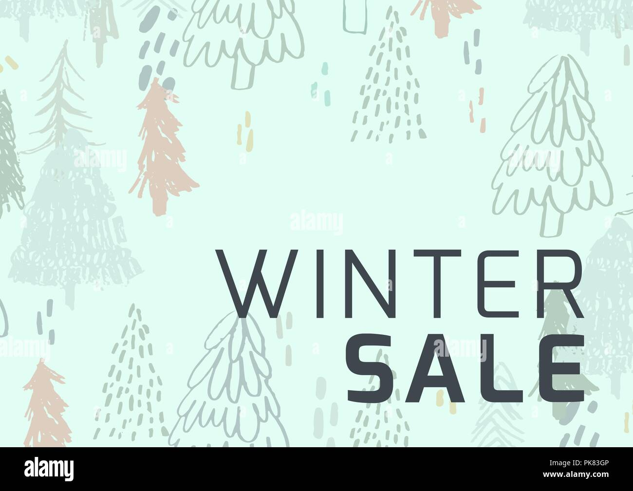 Winter Sale Illustrated Style with firs and green background - Stock Image