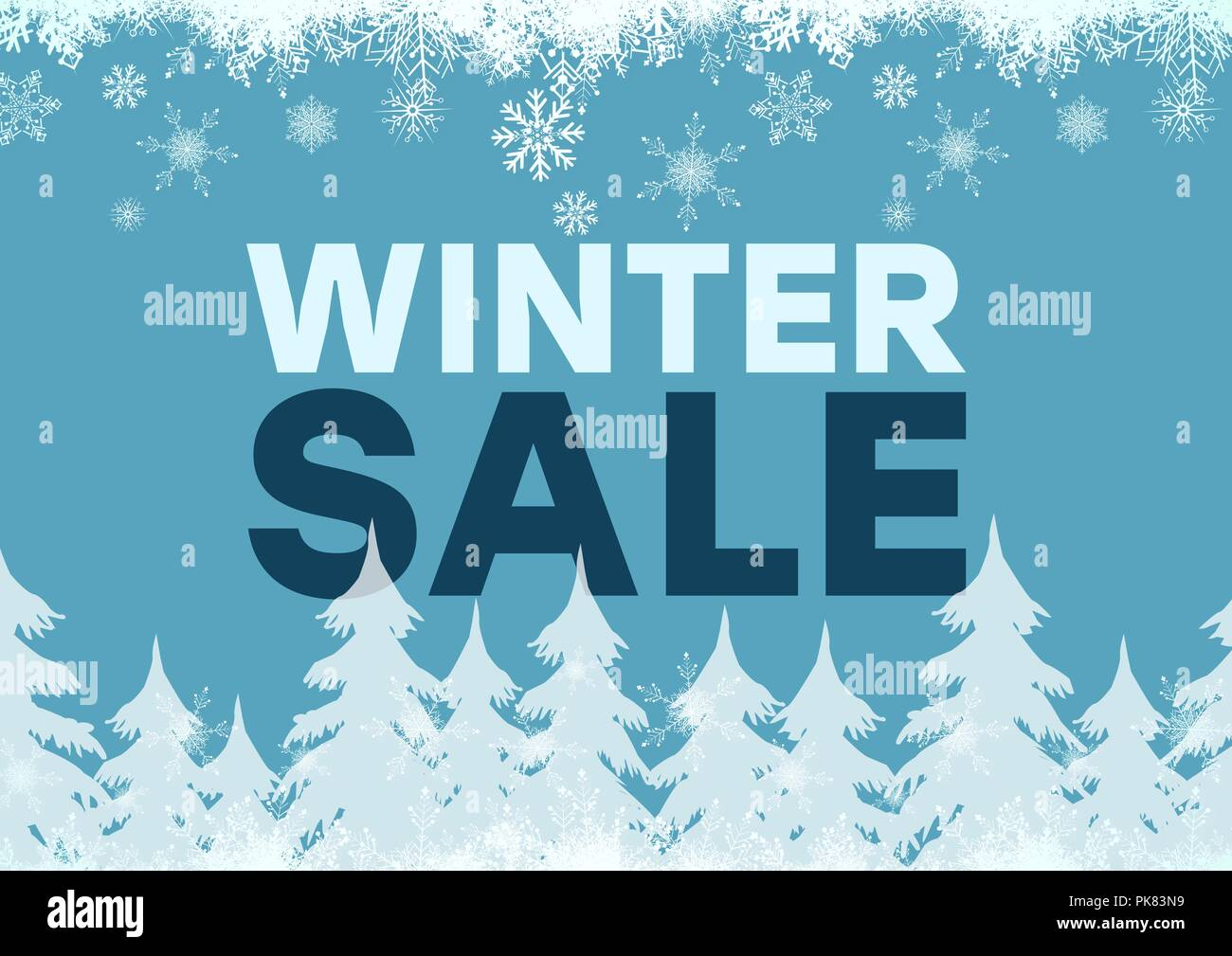 Winter Sale blue background and white firs, snowflakes - Stock Image
