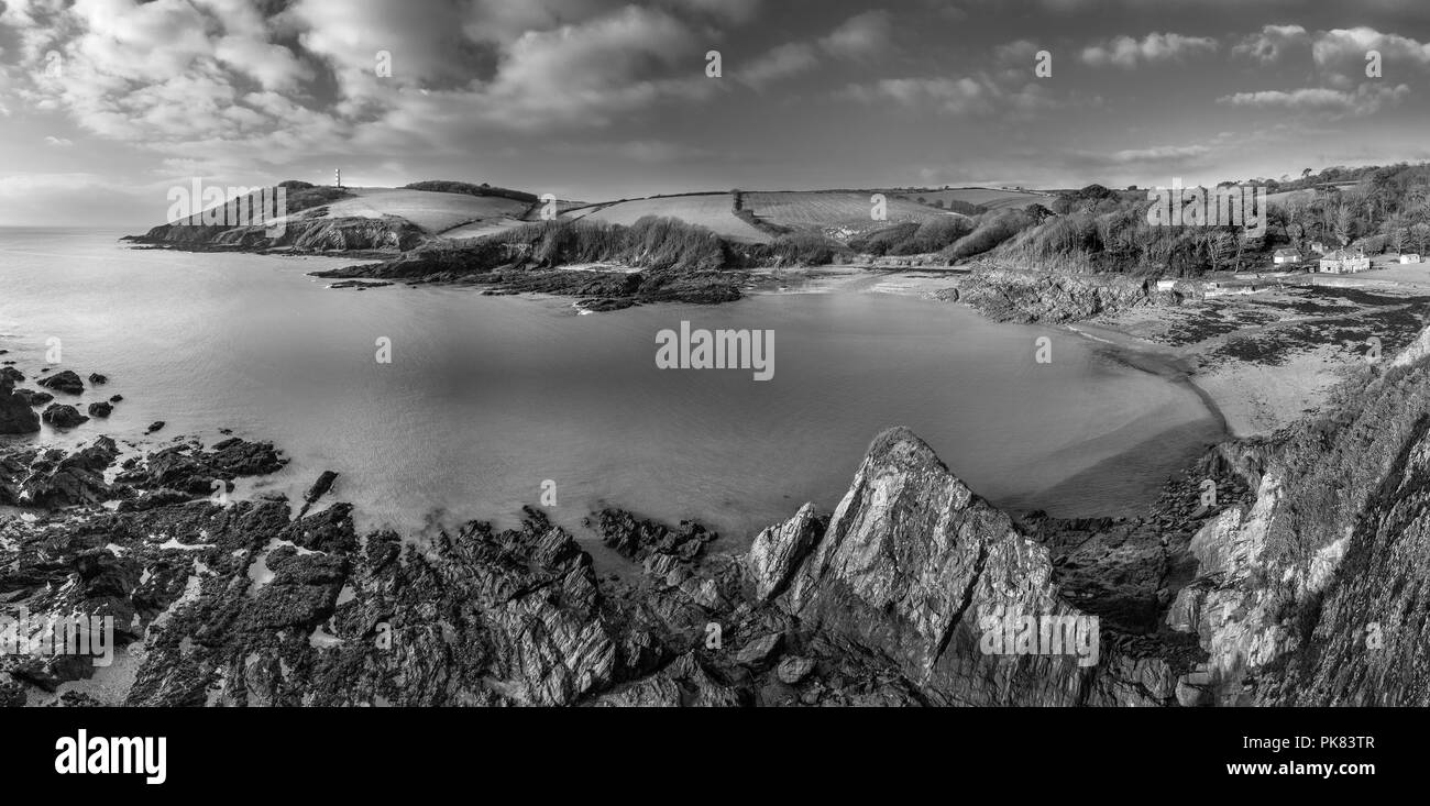 Moody Seascape, Gribbin Head, Cornwall, UK - Stock Image