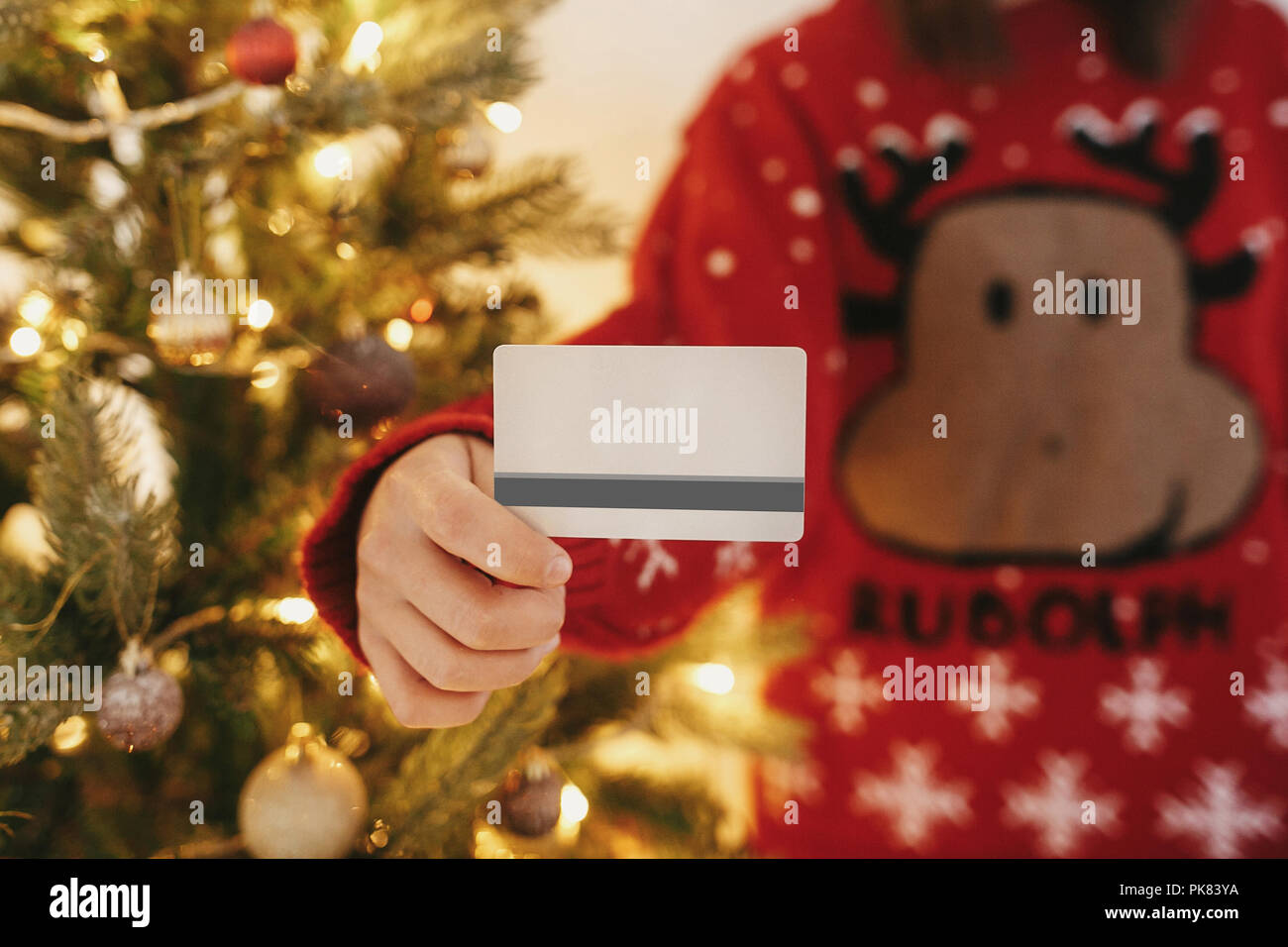 Beautiful Christmas Pictures.Beautiful Young Woman Holding Credit Card On Background Of