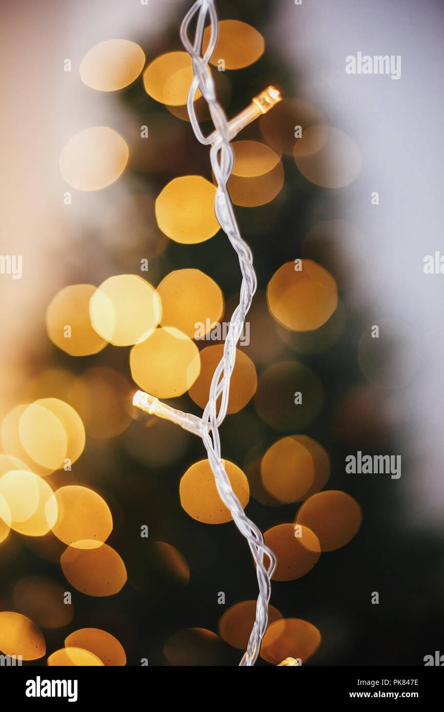 beautiful christmas light bulbs on golden christmas tree bokeh background glowing illumination in festive room decor for winter holidays atmospheri - Beautiful Christmas Lights