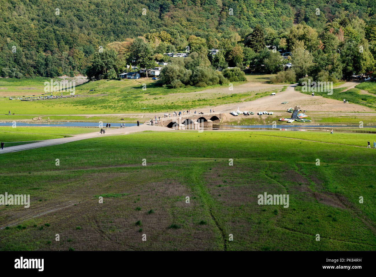 Old Aseler bridge, Lake Edersee at low tide, Hesse, Germany, Europe - Stock Image