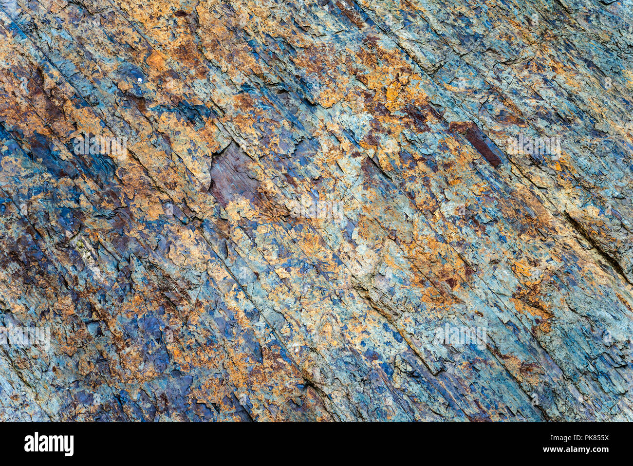 Slaty natural rock texture, Asel, Lake Edersee, Hesse, Germany, Europe - Stock Image