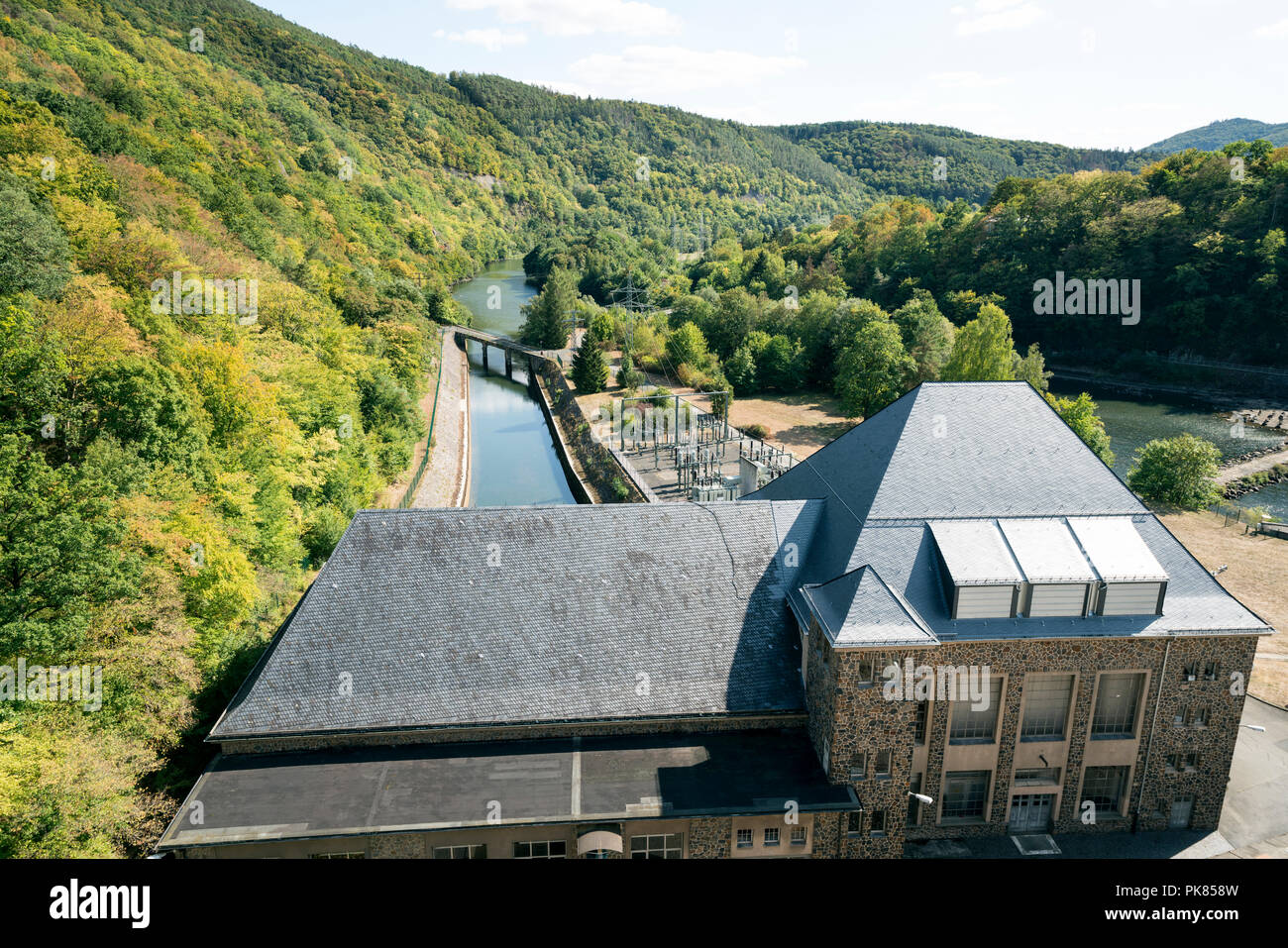 Dam of Lake Edersee at low tide, Hesse, Germany, Europe - Stock Image
