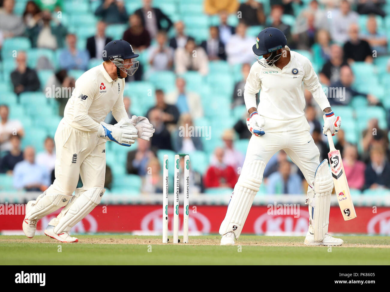 India's KL Rahul is bowled by England's Adil Rashid during the test match at The Kia Oval, London. - Stock Image