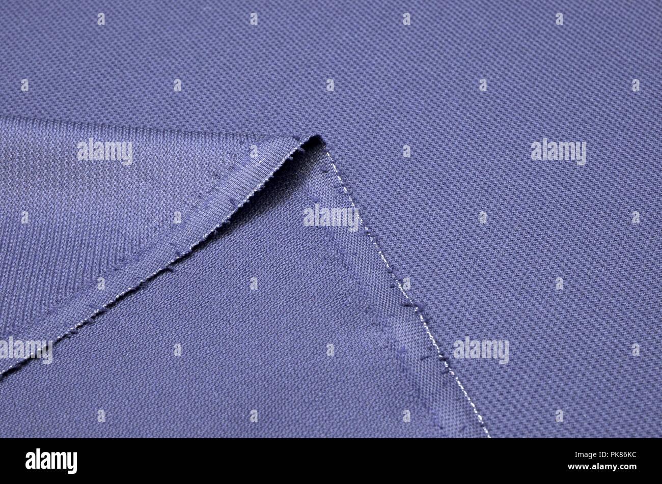Fabric costume, textured, dark blue of wool. - Stock Image