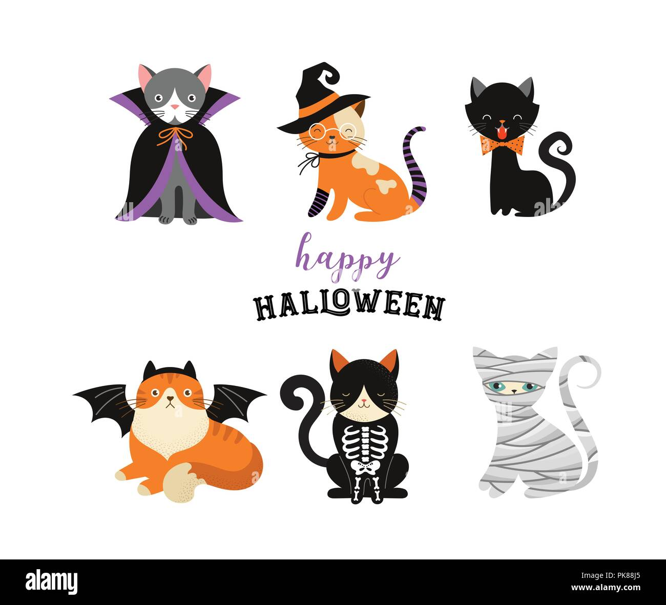halloween cats costume party. illustration and vector elements of