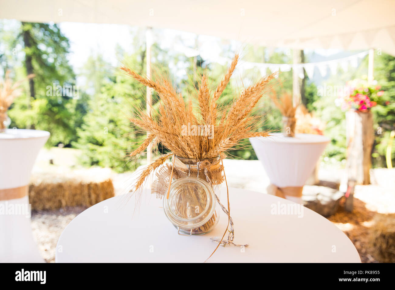 Dried Wheat Ears in Glass Conserve Jar in Shabby Chic Rustic Wedding ...