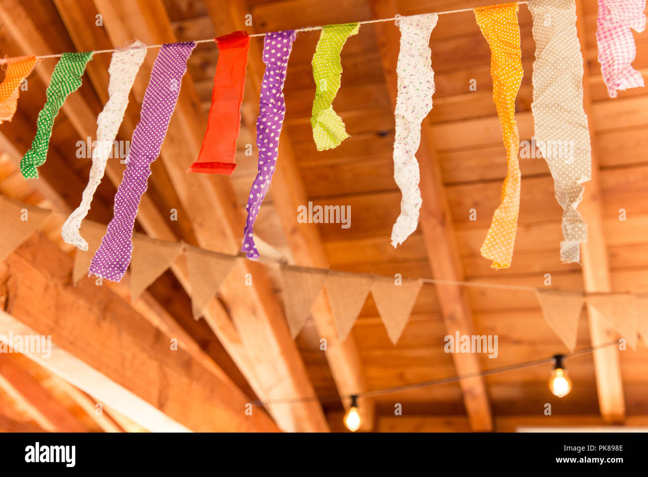 Home Made Indie Hanging Banner and Hanging Burlap Decoration Stock Photo