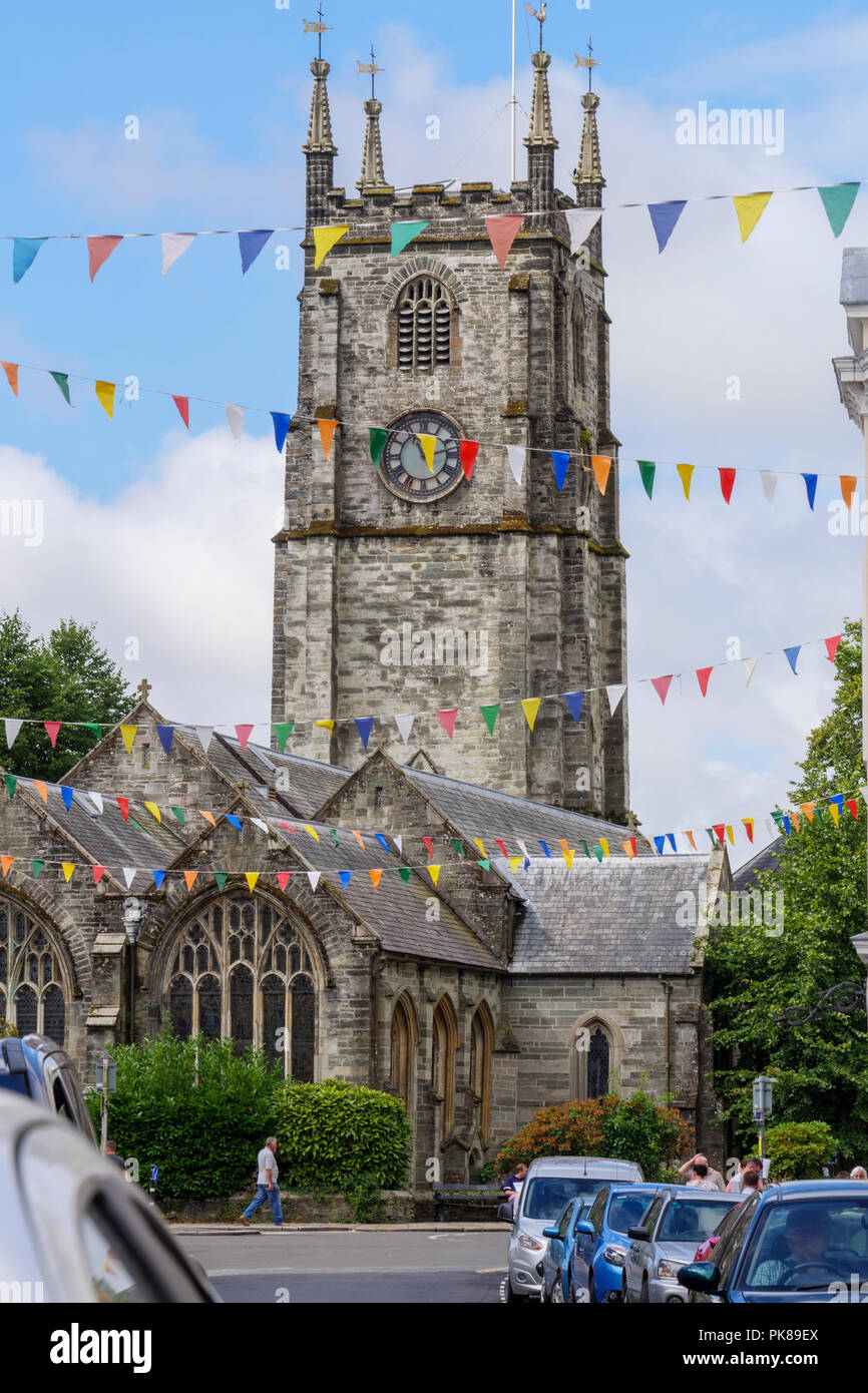The Church of  Saint Eustachius (Eustace) Tavistock Devon England - Stock Image
