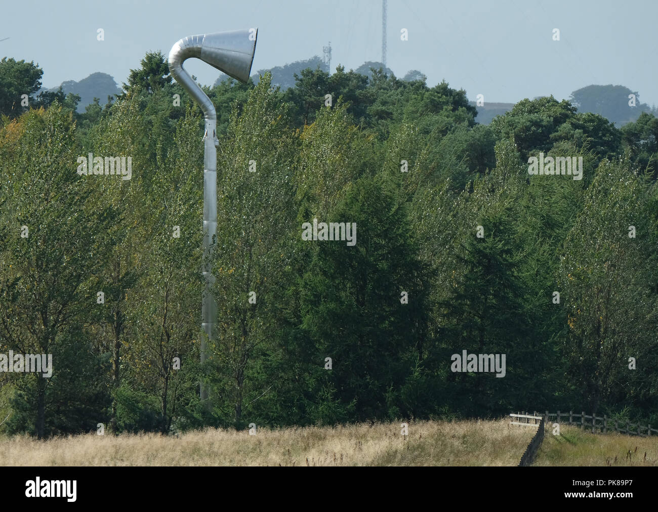 The Horn art installation which overlooks the M8 motorway from its location in Polkemmet Country park, West Lothian. - Stock Image