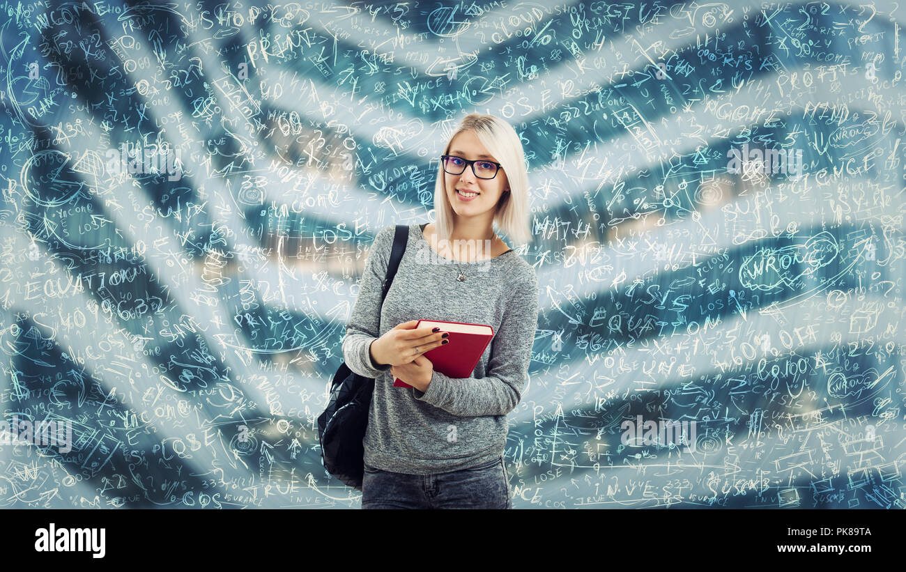 Student girl wearing glasses and a backpack holding book. Difficult mathematics calculation, formula and equations floating around head. Thinking of p - Stock Image