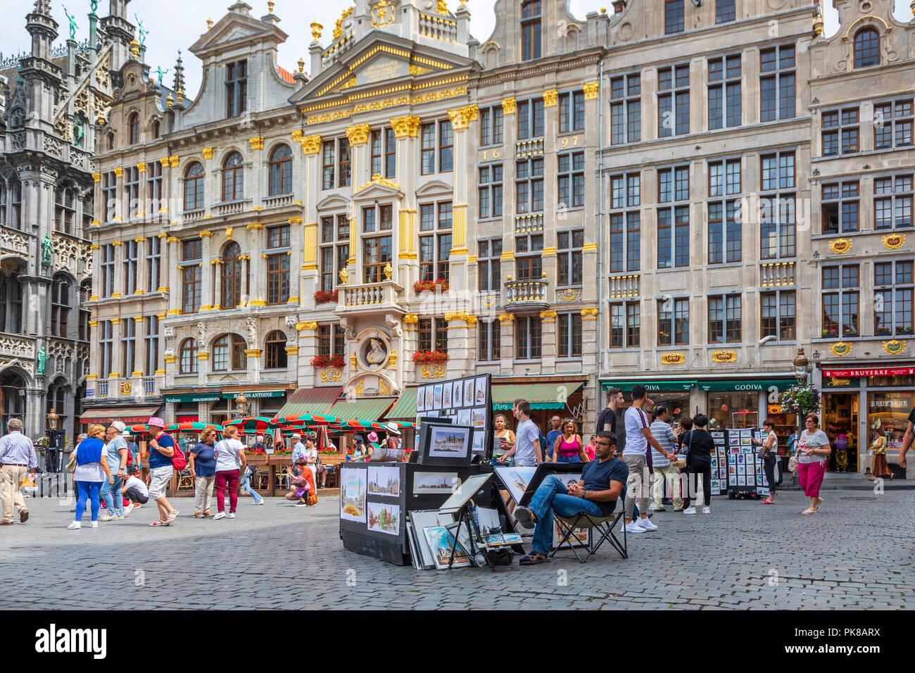 15th century architecture in Grand Place, Brussels, a UNESCO World Heritage site, Brussels, Belgium - Stock Image