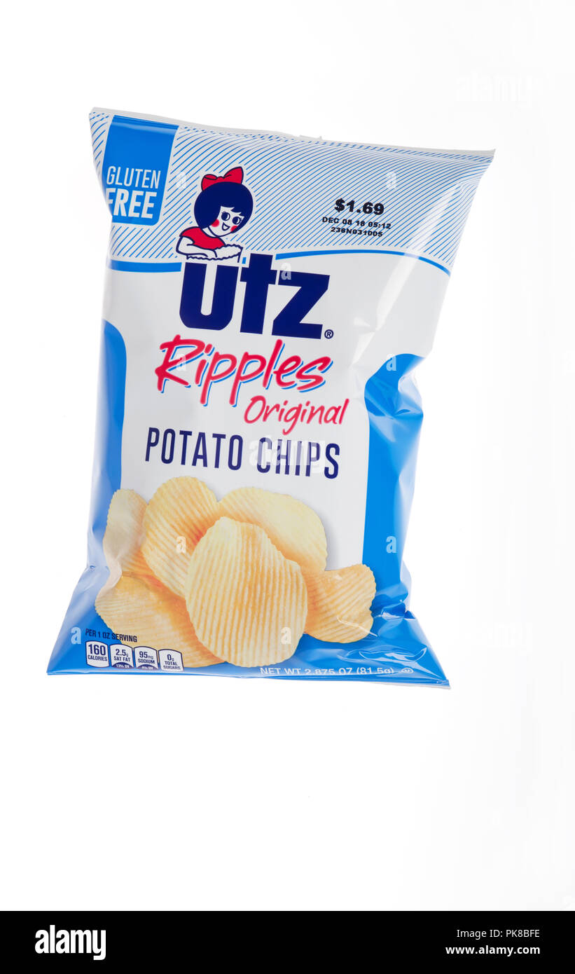 Bag of UTZ Ripples Potato Chips on white Stock Photo