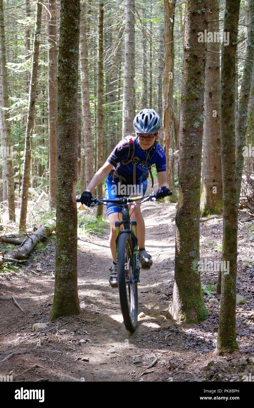 A lady mountain biker (in her 40s) carefully manoeuvring between two trees in the Kingdom Trails, East Burke, Vermont, USA - Stock Image