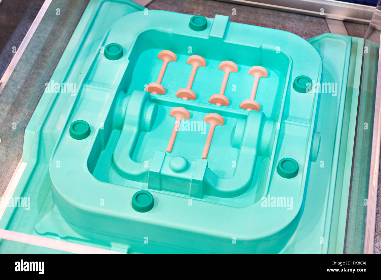 Forms for casting engine parts closeup - Stock Image
